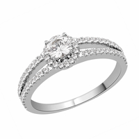 Diamond Halo Split Engagement Ring