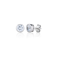 Sterling Silver Rubover Set Stud Earrings