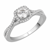 Diamond Square Halo Engagement ring