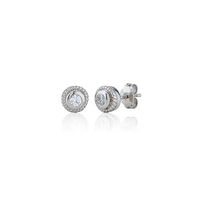 Sterling Silver Rubover Set Swarovski Earrings
