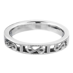 18ct White Gold Cut out Milgrained Band.