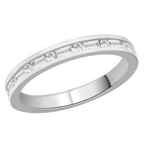 Diamond Channel Set Mixed Half Eternity Ring