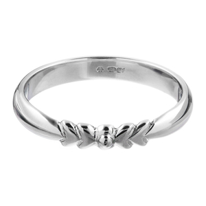 Platinum Wedding Band With Centre Bow