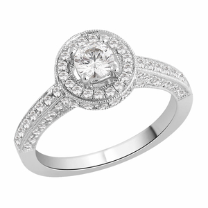 Diamond Paved Halo Engagement ring