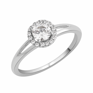 Diamond 4 Claw Halo Engagement ring