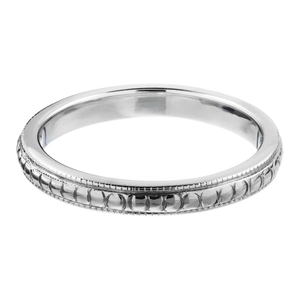 18ct White Gold Milgrain Wedding Band