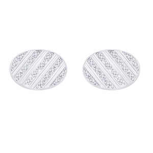 Diamond Set Oval Cufflinks