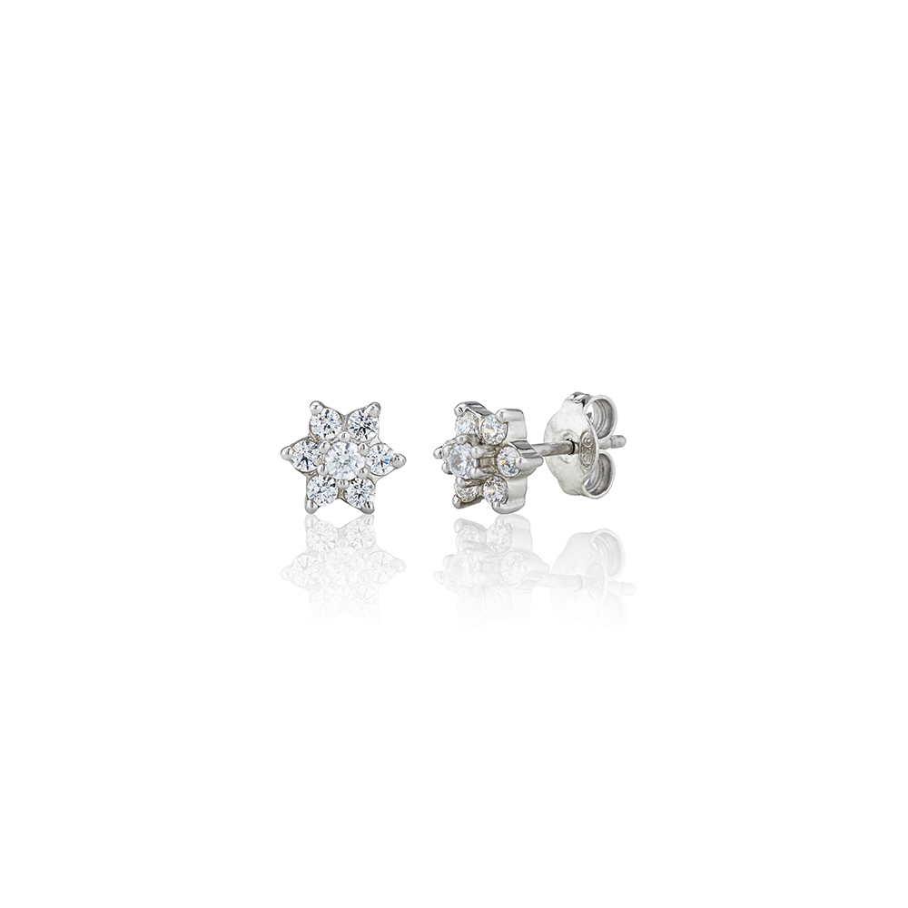 Sterling Silver 0 50ct Flower Swarovski Earrings - Jason